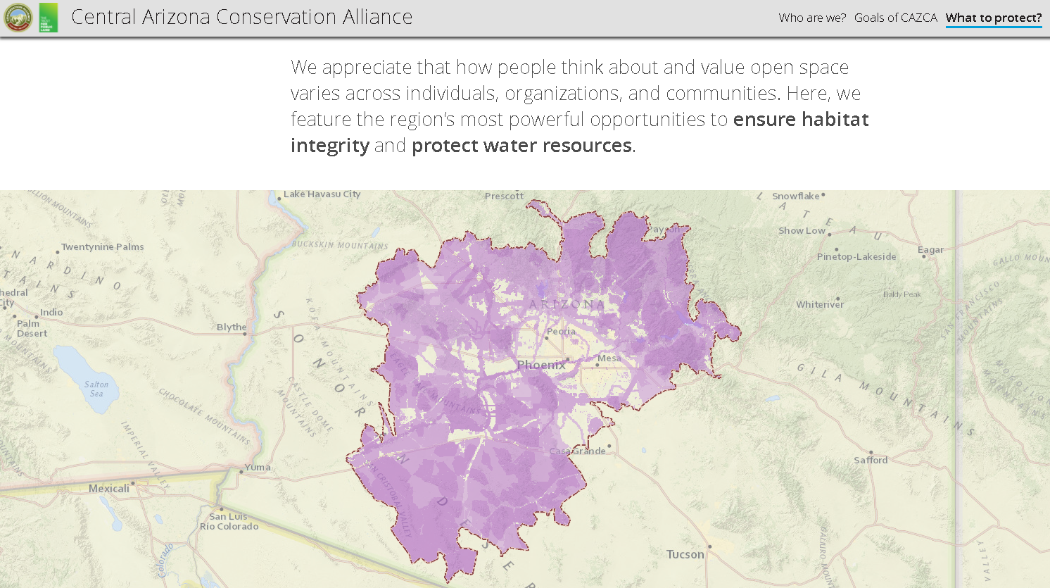 Map Of Central Arizona.Central Arizona Conservation Alliance Storymap Planning And Gis